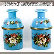 SALE Antique French Pair Blue Opaline Vases, Enameled