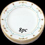 SALE Antique 8pc George Jones Raised Enamel Plate Set, 'Jeweled'
