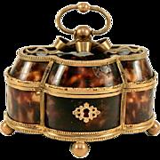 SALE BIG Charles X Antique French Palais Royal Faux Tortoise Shell & Ormolu Casket - Tortoises