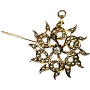 SALE Antique 14k Gold, Diamond, Seed Pearl Brooch, Pendant