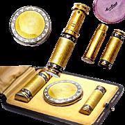 SALE Superb Art Deco Antique French Guilloche Enamel Vanity Set in Original Box, Perfume, Comp