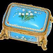 """SALE Antique French Kiln-Fired Enamel 4"""" Jewelry Casket, Bell FLowers, 'Jewels' & Gilt Or"""