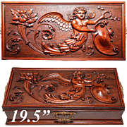 """SALE Exceptional Antique Hand Carved 19.5"""" Chest, Box, Angel, Putti and Grotesques"""