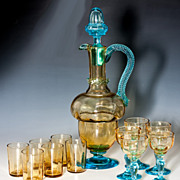 SALE Antique French Liqueur Decanter, Carafe & 6 Cups, 5 Cordials, Georges Sand