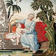 SALE RARE c. 1600s-1700s Fine NeedlePoint Tapestry, Mother & Putti, NeedleWork