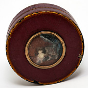 SOLD Antique French Snuff Box, 1700s Vernis Martin and 18k Gold with Miniature Painting Portra