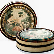 SOLD Antique 1700s Snuff or BonBon box with Hand Painted Miniature Portrait Painting, Cupid &
