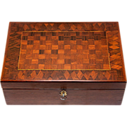 SOLD Fine 19th c. Antique French Parquet Table Box, Documents or Jewelry, Gentleman's Cigar Bo