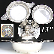 SALE Exceptional Antique French Sterling Silver Ecuelle or Covered Serving Dish, Original Lid