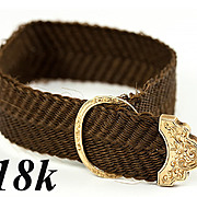 SALE Antique French 18k Yellow Gold Clasp & Woven Hair Bracelet, c. 18400-60