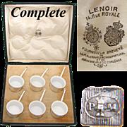 SALE Antique French Palais Royal Marked 6pc SP & Porcelain Ramekin Set, Original Box