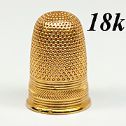SOLD Antique French 18k Yellow Gold Sewing Thimble, Ecoudre, Excellent Condition