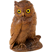 SOLD Antique Hand Carved Black Forest Owl Smoker's Tobacco & Match Stand or Sewing Caddy, Inkw