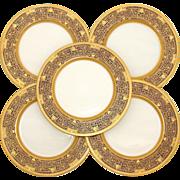 SALE Set of 5 Stunning Lenox Raised Gold Enamel & Cobalt Dinner Plates