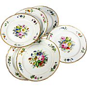 SALE Set of 6 Antique French Old Paris Porcelain Plates, Hand Painted Bouquets, Superb!
