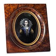 SOLD Antique Kiln-fired Limoges Enamel Portrait Miniature, Queen Catherine De Medici, Frame