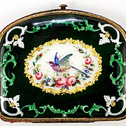 SALE Antique French Kiln-fired Enamel Coin Purse, Florals and Exotic Bird