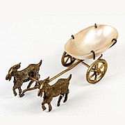 SALE Antique French Miniature 2 Goat Cart, Carriage with Mother of Pearl Thimble Holder, Open