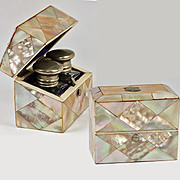 SALE Antique Scent Caddy, Casket or Box, 2 Bottles, Mother of Pearl Parquet, English 19th C.