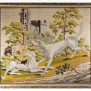 "SALE RARE Huge Antique Victorian Needlepoint Tapestry Sampler of 2 Hounds & a Castle, 30"""
