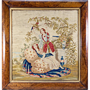 """SALE Fine Victorian Needlepoint Tapestry , Girls and Parrot in Original c.1840s Frame, 19"""""""