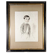 """SALE Exceptional Antique Pencil Drawing, Portrait of a Boy, in 14"""" x 11"""" Frame, Sign"""