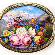 SALE Antique French Kiln-fired Enamel Brooch, Florals and Mountains