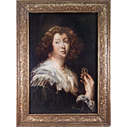 SALE Antique French Oil Painting, Portrait of Woman with Jewelry, Signed by Artist Marzal, in