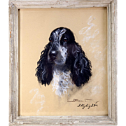 "SALE Original Antique Pastel Portrait of a Dog, Spaniel, ""Skylight"" in Frame, Signed"
