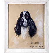 SALE Antique French Pastel Chalk Drawing Portrait of a Spaniel, Dog, in Frame c. 1900 ...