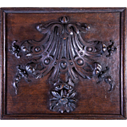 """SOLD Fine Antique French Hand Carved Wood Plaque, Panel for Cabinetry or Frame, 14"""" x 12"""""""