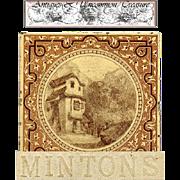 "SALE Rare Antique Minton China 6"" Decorative Tile, Mountain Chateau"