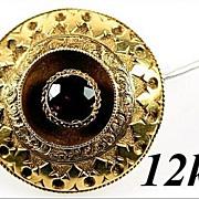 SALE Antique Victorian Memorial Hair Art Brooch, 12K Gold & Garnet