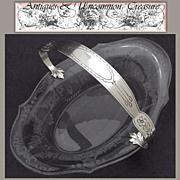 SALE Antique Sterling Silver & Engraved Glass Bonbon, Basket Dish
