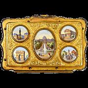 SALE Antique French Souvenir Coin Purse, 5 Eglomise Views of Paris c. 1850-70