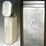 SALE Antique Georgian Era Incised Mother of Pearl Etui, Perfume Case