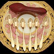 SALE Antique French 1819-1838 Vermeil Silver 6pc Teaspoon Set, Etui
