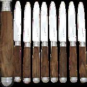 SALE Gorgeous Antique French Sterling Silver 8pc Dessert or Entremet Knife Set, Walnut Handles