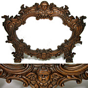 "SALE Magnificent Antique Victorian Era Figural 22"" Carved Oak Mirror, Winged Cherub or Pu"