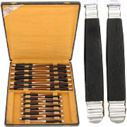 SALE Fantastic Vintage French 24pc Sterling Silver & Ebony Handled Table Knife Set, Stainless