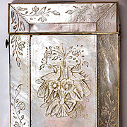 SOLD Antique French Hand Carved Mother of Pearl Calling Card Case, Doves, Birds
