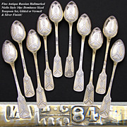 SALE Antique Russian Hallmarked Silver 10pc Niello Style Demitasse Teaspoon Set, Gold & Silver