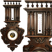"""SALE Fine Antique Victorian Era French Black Forest Style 26.5"""" Wall Barometer"""