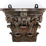 SOLD Antique Hand Carved Acanthus Capital for Corinthian Column, now a Bracket Shelf