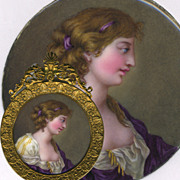 """SALE Antique Kiln-fired Enamel Miniature Portrait, 'Naughty"""", and in Fine French Frame, c"""