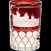 "SALE Antique Bohemian Engraved Ruby Glass with Vcitorian Era ""Spa"" Souvenir Architec"