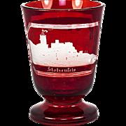 "SALE Antique Egermann Bohemian Engraved Ruby Glass with Vcitorian Era ""Spa"" Souvenir"