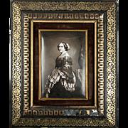 SALE Antique French Photo Technique, Enamel on Convex Plaque, 1/2 Plate Daguerreotype-Like ...