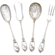 SALE Fine Antique French Sterling Silver 4pc Hors d'Oeuvre Implement Set, Boxed