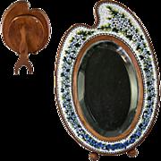 "SALE Antique Italian Micromosaic 8.75"" Vanity Mirror, Wood Artist's Palette, Micro Mosaic"